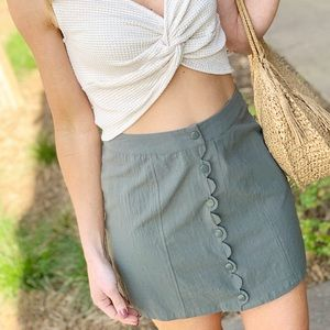Olive Button Down Cotton Scallop Skirt